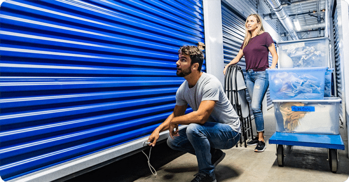 Customers checking units at Accurate Self Storage